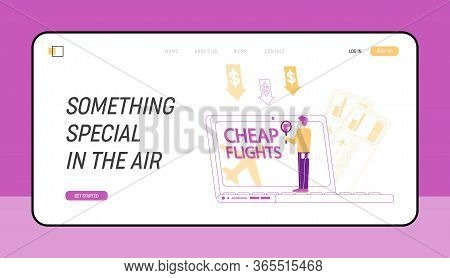 Cheap Flight Special Offer, Low Cost Airline Discounter Landing Page Template. Tiny Male Character B