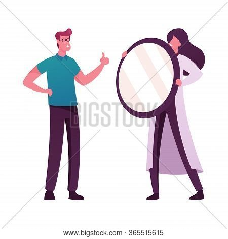 Male Character Looking In Mirror Which Doctor Hold Happily Smiling Sparkling With New Dental Veneers