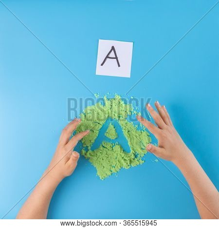 Sand Tray Writing, Letter Practice For Kids, Preschool Writing Activity, Kids Hands, Top View
