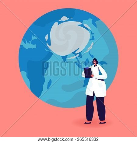Female Character In White Robe Writing In Clipboard Stand At Earth Globe With Cyclone Vortex. Meteor