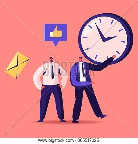 Time Management, Sales Funnel, Procrastination In Business. Businessman Character Point On Huge Cloc