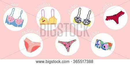 Trendy Female Underwear, Lingerie Set. Panties, Bikinis And Bras. Modern Hand Drawn Colorful Collect