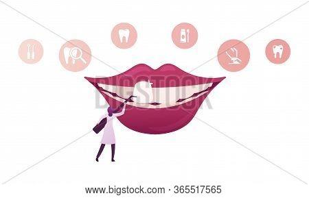 Tiny Female Dentist Doctor Character In Medical Robe Holding Stomatologist Instrument Install Dental
