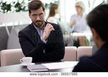 Headhunter Looking At Applicant With Distrust Failed Job Interview Concept