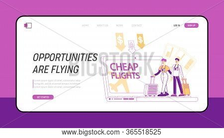 Saving Vacation Budget Landing Page Template. Tiny People With Luggage Book Cheap Flight, Couple Cha