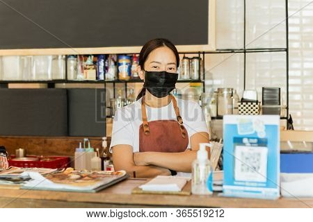 Women Cafe Owner Wearing Protective Mask Stand In Counter Covid-19 Conceptual