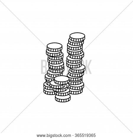 Stacks Of Coins Vector. The Coin On The Coin Icon. Much Money