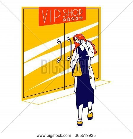 Female Character Leaving Vip Shop Hiding Face From Paparazzi Attack. Famous Actress Or Fashion Model