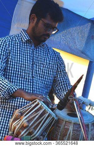 Panchita, West Bengal, India, 29th Feb., 2020:  Close Up Of An Indian Man Playing Table, Indian Perc
