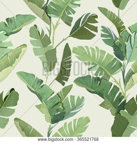 Seamless Tropical Floral Print With Exotic Green Jungle Banana Palm Leaves On Beige Background. Rain