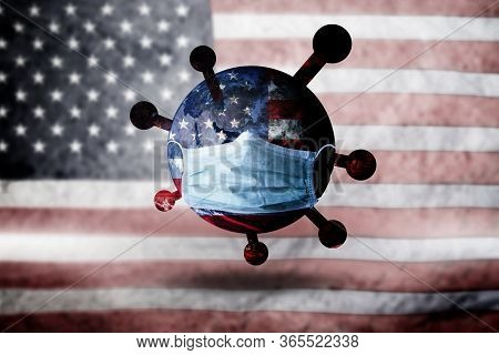 World Mask Protect Corona Virus On American Flag Background Concept For Earth Warning Covid19 Flu Pa