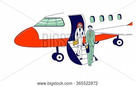 Male And Female Businesspeople Characters Stand On Airplane Ladder Waiting Meeting Person In Airport