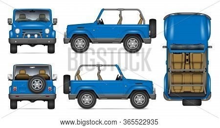 Suv Convertible Car Vector Mockup For Vehicle Branding, Advertising, Corporate Identity. View From S