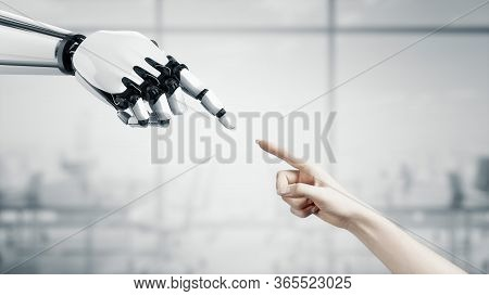 3d Robot Reaches Out To The Woman. Two Hands In A Proposal Position. Artificial Intelligence. Busine