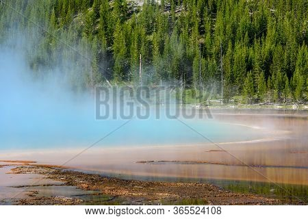 Steam Rising From Grand Prismatic Spring In Yellowstone