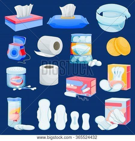 Personal Hygiene Supplies Set. Vector Flat Cartoon Illustration Of Hygienic And Toiletries Supplemen