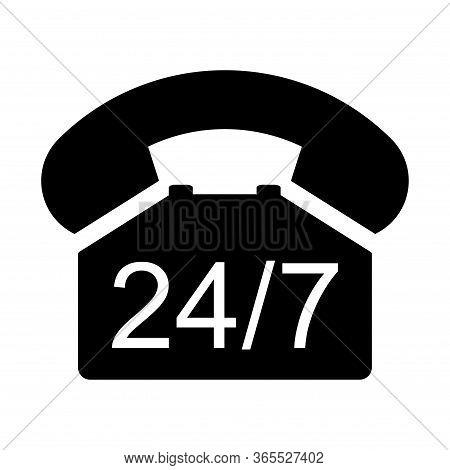 Old Phone 24 7 Flat Icon Isolated On White Background. Hotline Symbol. Telephone Vector Illustration