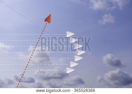 Red Paper Plane Out Of Line With White Paper To Change Disrupt And Finding New Normal Way On Sky Bac