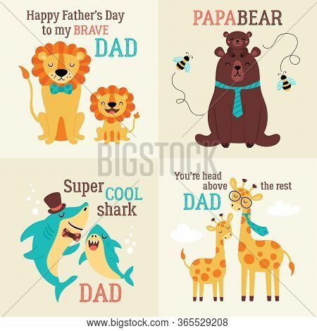 Father's Day Greeting Card Set With Cute Animals. Childish Print For Cards, Stickers, Apparel And Nu