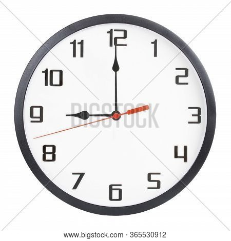 Wall Clock Isolated On White Background. 9 P.m. Or 9 A.m.