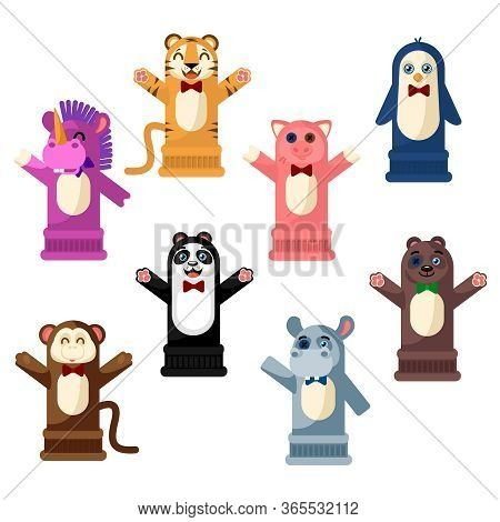 Cartoon Color Hand Puppets Icons Set Include Of Bear, Pig And Tiger. Vector Illustration Of Icon