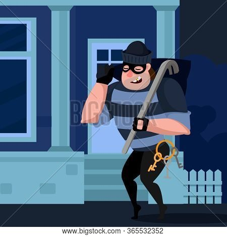 Cartoon Color Character Person Thief Sneaks Into The House Concept Flat Design Style . Vector Illust