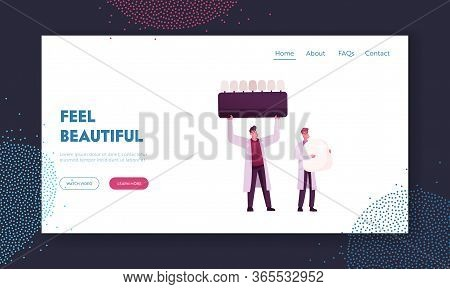 Aesthetic Stomatology Concept For Landing Page Template. Tiny Male Doctors Characters Hold Huge Teet