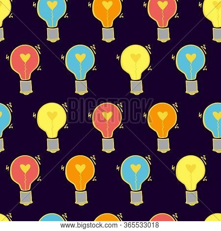 Light Bulb Seamless Vector Pattern. Hand Drawn Doodle Colorful Fun Background With Bulbs. Creative I