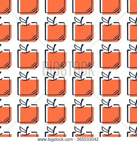 Square Orange Seamless Pattern. Citrus Fruit Backgroung In Fun Cartoon Style. Juicy Tasty Appetizing