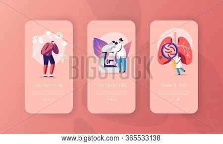 Respiratory System Exam Mobile App Page Onboard Screen Template. Tiny Man Character Coughing, Doctor