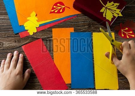 Origami Instruction Step 3. Multicolored Bookmarks Origami Paper Pencil New School Year On A Wooden