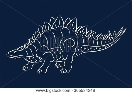Beautiful Hand Drawn Tribal Illustration With White Stegosaurus Silhouette On The Blue Background