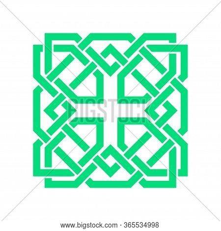 Irish Celtic Shamrock Knot In Circle. Symbol Of Ireland. Traditional Medieval Frame Pattern Illustra
