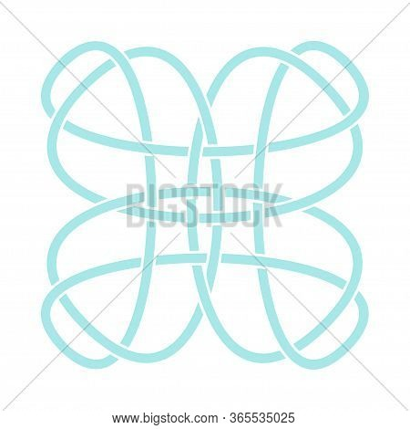 Irish Celtic Shamrock Knot In Circle. Symbol Of Ireland. Traditional Medieval Frame Pattern Illustra