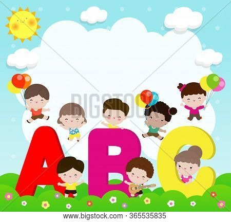 Cartoon Children With Abc Letters, School Kids With Abc, Children With Abc Letters, Background Vecto