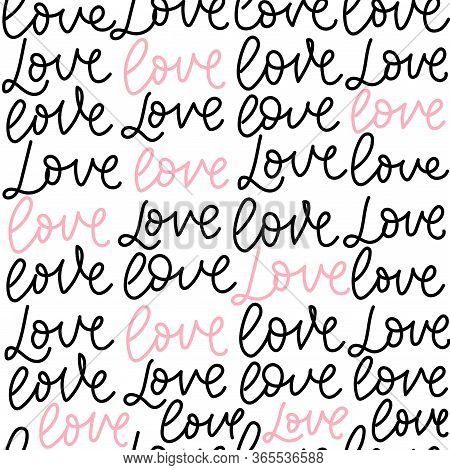 Love Colourful Lettering Seamless Pattern