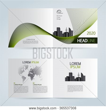 Set Of Vector Template Bi Fold Brochure With City In Green Color