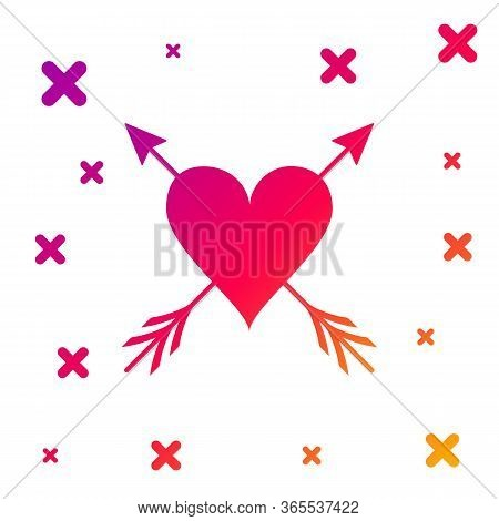 Color Heart With Arrow Icon Isolated On White Background. Happy Valentines Day. Cupid Dart Pierced T