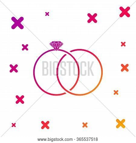 Color Wedding Rings Icon Isolated On White Background. Bride And Groom Jewelery Sign. Marriage Icon.
