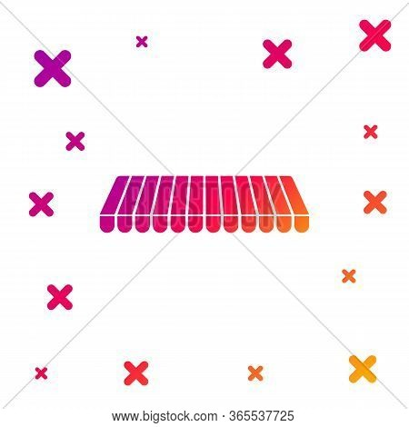 Color Striped Awning Icon Isolated On White Background. Outdoor Sunshade Sign. Awning Canopy For Sho