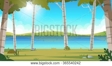 Vector Cartoon Summer Landscape With Forest And River. Concept Sunny Day With Water Mountains And Hi