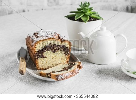 Cozy Tea Table - Homemade Cake With Nuts And Chocolate, Teapot, Cup, Succulent Flower On The Kitchen