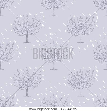 Trees With Flocks Of Birds. Vector Repeat. Great For Home Decor, Wrapping, Scrapbooking, Wallpaper,
