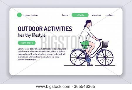 Adorable Female Bicyclist Web Banner. Healthy Lifestyle And Rest On Nature. Isolated Cartoon Charact