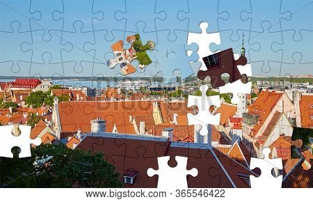 Assorted Jigsaw Puzzle Of The Panorama Of The Old Town In Tallinn On A Clear Sunny Day