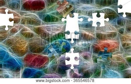 Assorted Jigsaw Puzzle Of Multicolored Neural Network Background. Abstract Colored Background
