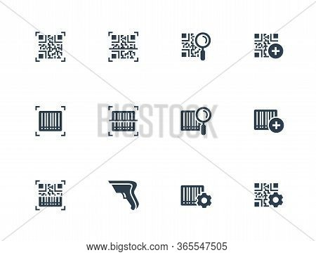 Qr Code And Barcode Scanning Related Vector Icon Set In Glyph Style