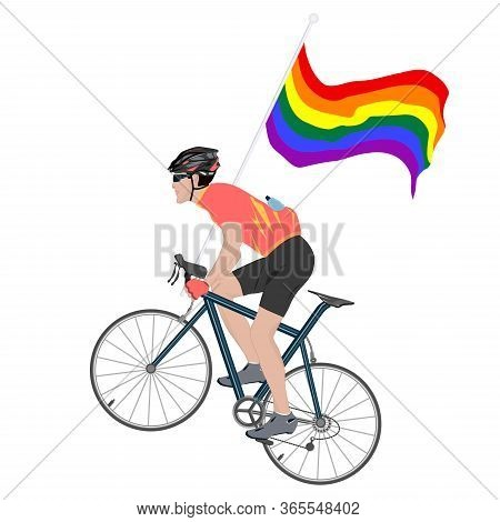 Cyclist Holding Rainbow Pride Flag Lgbt Movement - Isolated On White Background - Vector. Gay Pride.