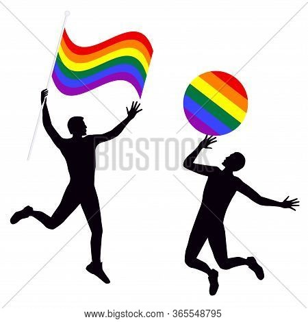 Lgbt Movement Rainbow Pride Flag - Two Cheerful Happy People - Colorful Illustration - Vector. Gay P