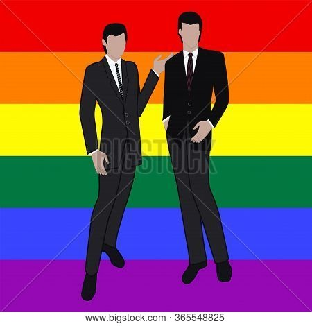 Lgbt Movement Pride Rainbow Flag - Two Businessmen - Colorful Illustration - Vector. Gay Pride. Lgbt